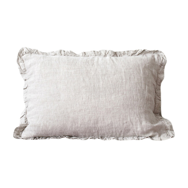 Frilled Linen Pillowcase, Melange