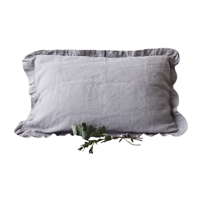 Frilled Linen Pillowcase, Light Grey