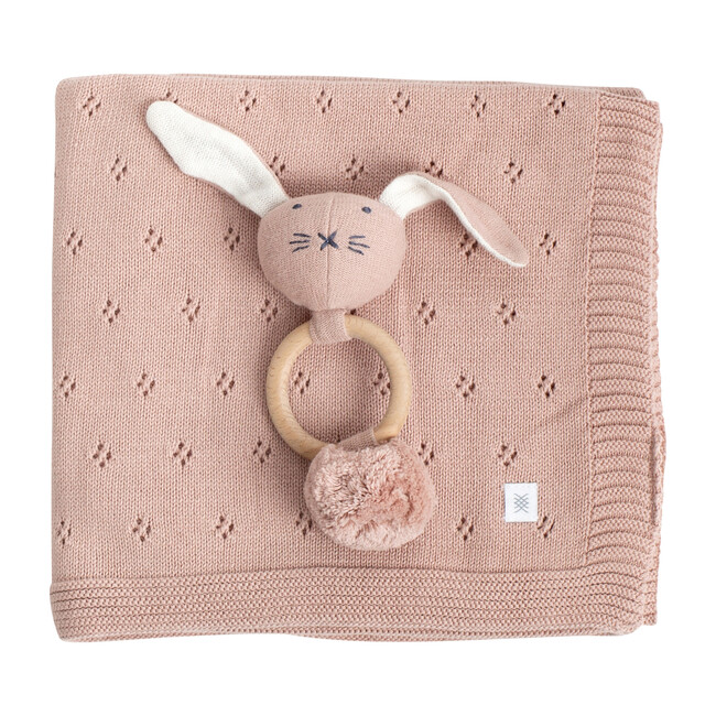 Organic Cotton Clover Knit Baby Gift Set, Berry