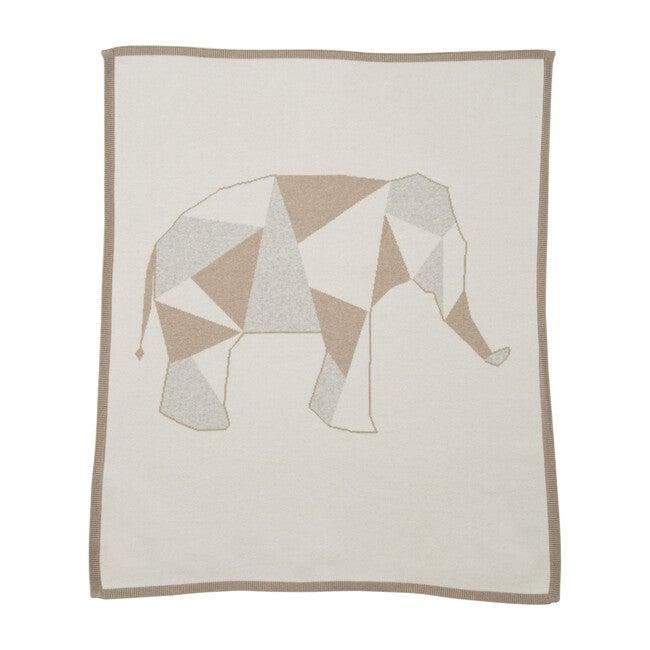 Geometric Elephant Blanket, Ivory