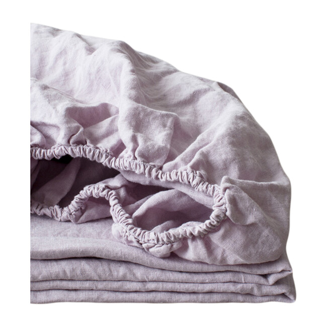 Linen Fitted Sheet, Pink Lavender