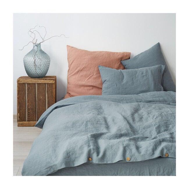 Linen Flat Sheet, Blue Fog