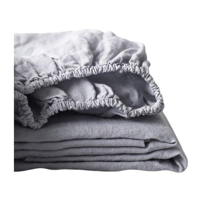 Linen Fitted Sheet, Light Grey