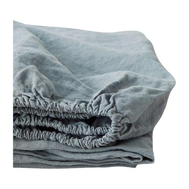 Linen Fitted Sheet, Blue Fog