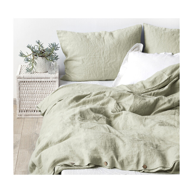 Linen Fitted Sheet, Sage