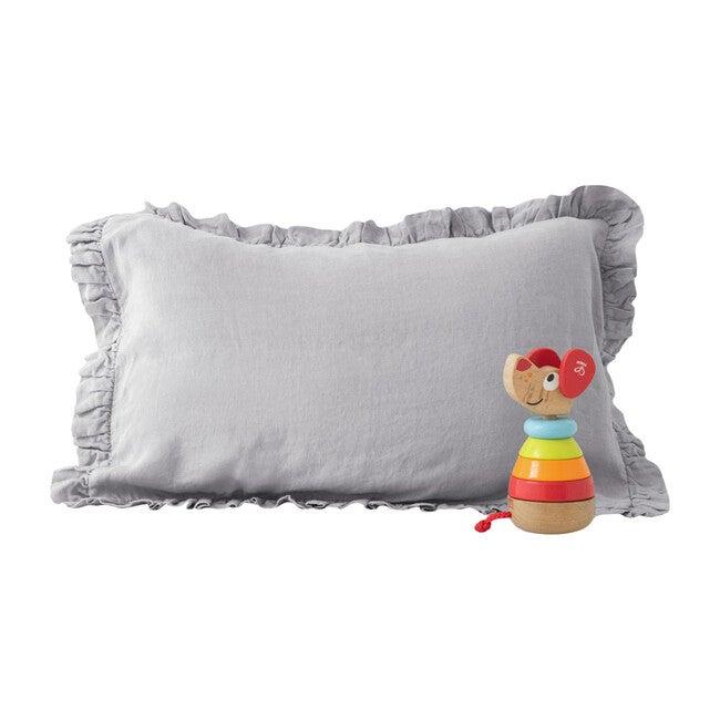 Kids Frilled Linen Pillowcase, Light Grey
