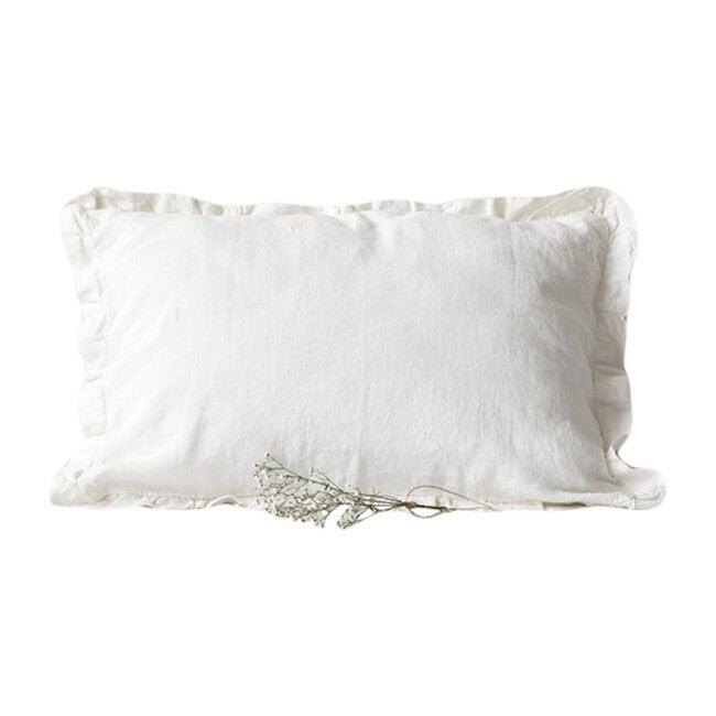 Frilled Linen Pillowcase, White