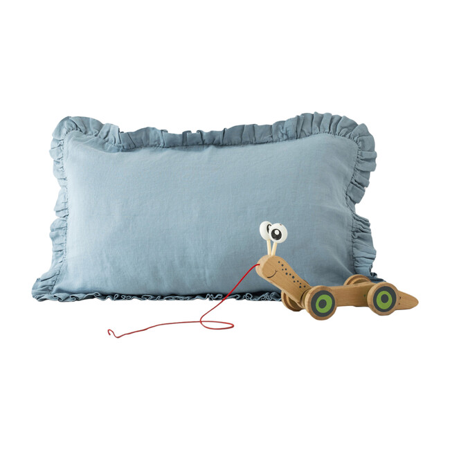 Kids Frilled Linen Pillowcase, Blue Fog
