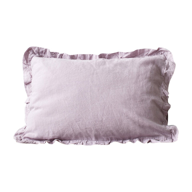 Frilled Linen Pillowcase, Pink Lavender