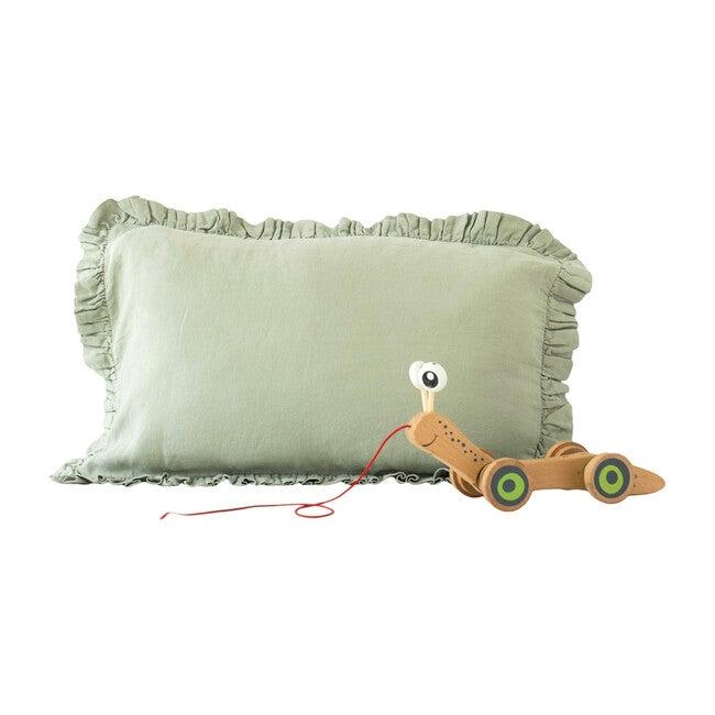Kids Frilled Linen Pillowcase, Sage