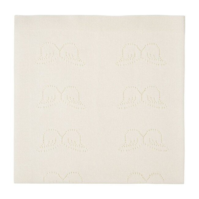 Pointelle Angel Wing Cashmere Blanket, Ivory