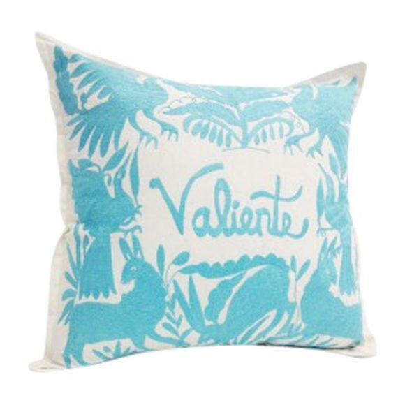 Embroidered Valiente Pillow, Turquoise