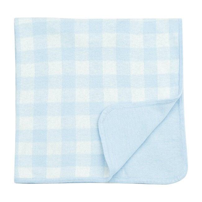Knit Blanket, Blue Gingham