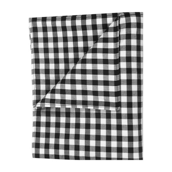 Large Blanket in Black Gingham Cotton