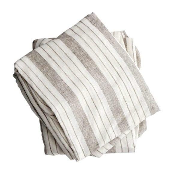 Crib Sheet in Striped Linen