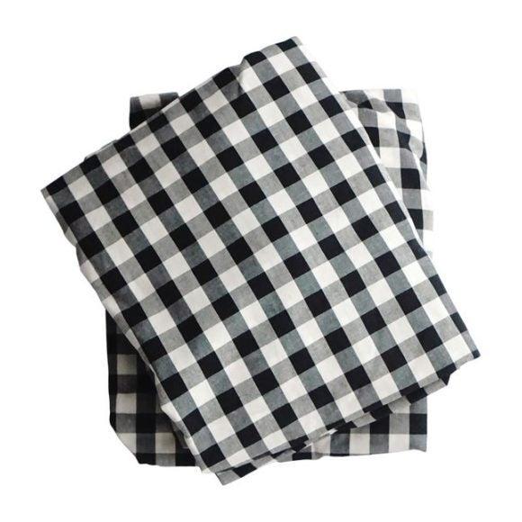 Crib Sheet, Black Gingham Cotton