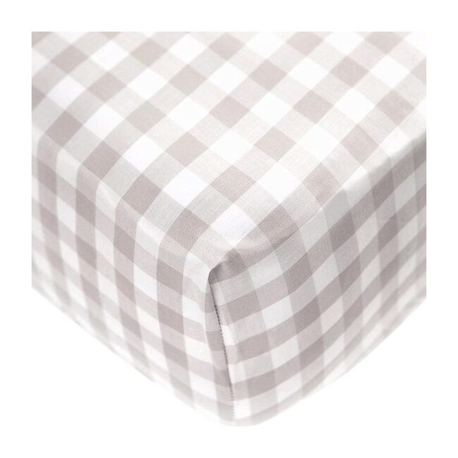 Crib Sheet in Beige Gingham Cotton