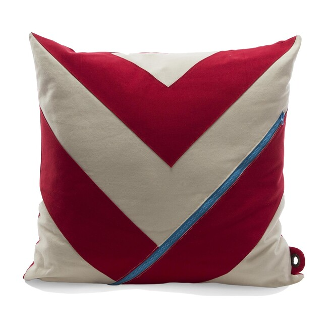 """Dreamer"" Storage Pillow, Red/White"