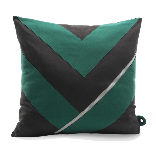 """Dreamer"" Storage Pillow, Grey/Green"