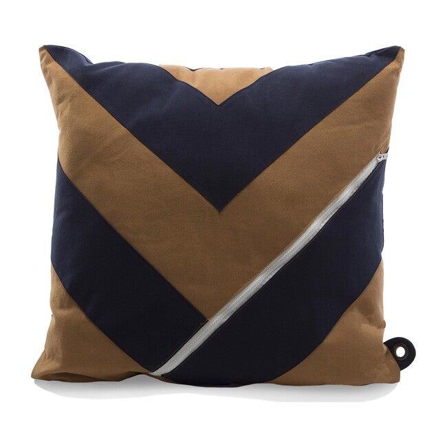 """""""Dreamer"""" Storage Pillow, Khaki/Navy"""