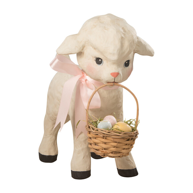Paper Mache Spring Lamb With Basket