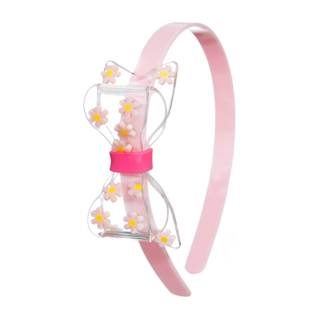 Fat Bow Headband, Light Pink with Daisies