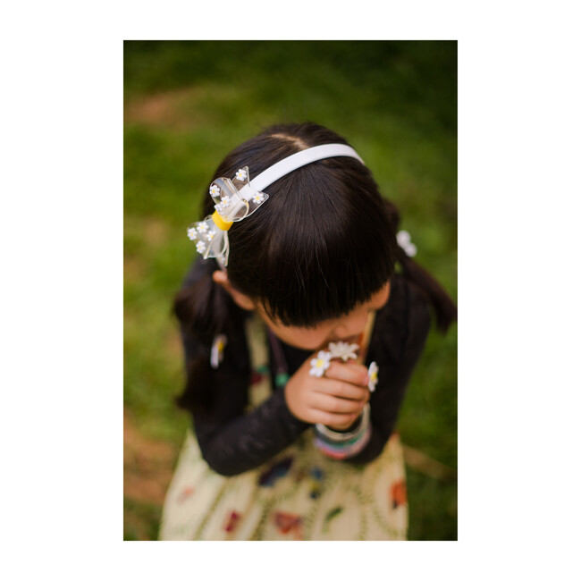 Fat Bow Headband, Clear with Daisies