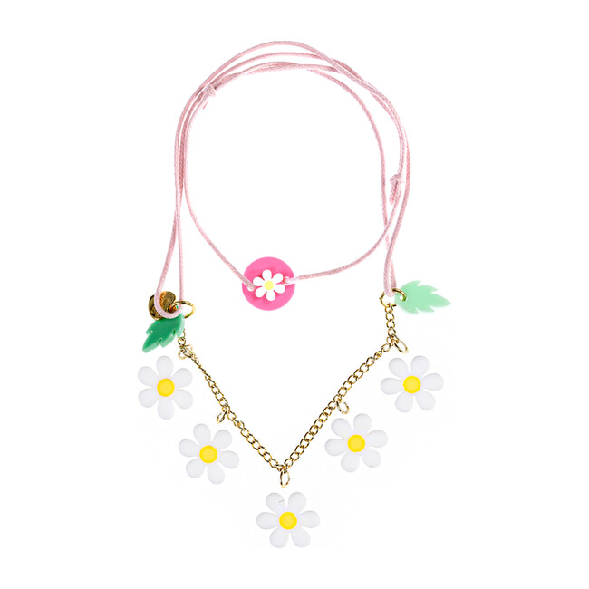 Daisy Necklace, White and Pink