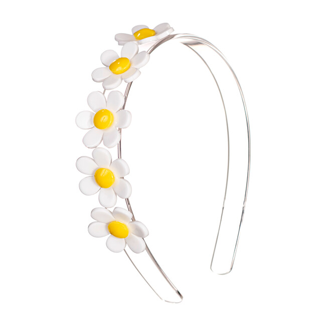 Centipede Daisy Headband, White Clear