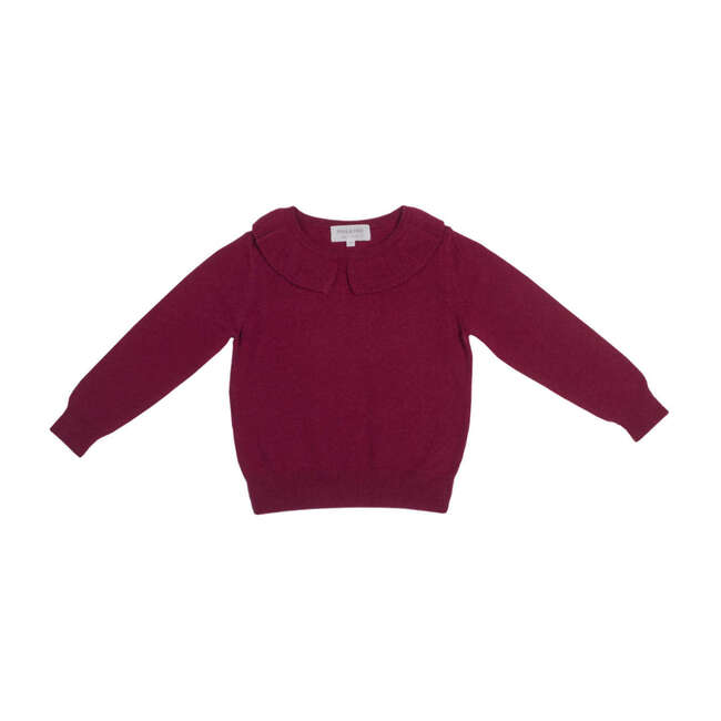 Ribbed Collared Jumper, Berry Red