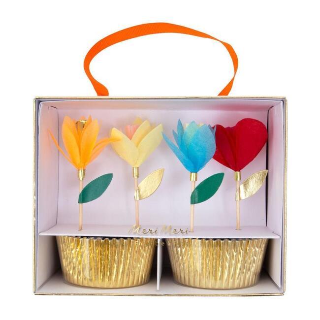 Bright Tissue Flower Cupcake Kit