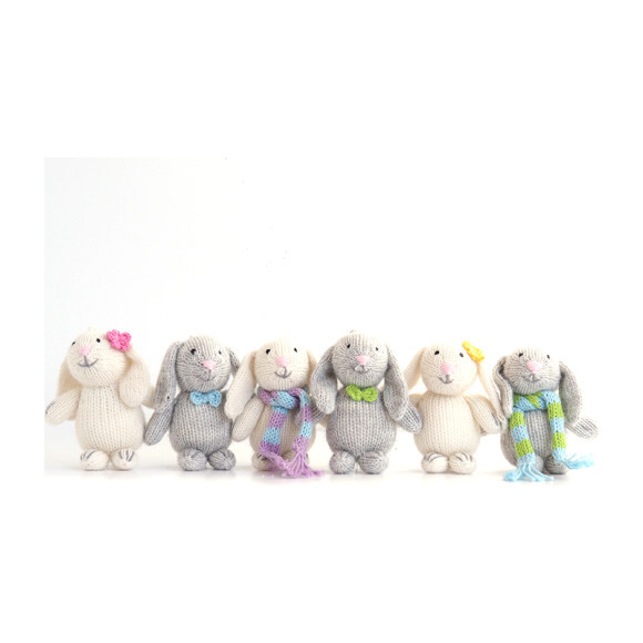 Set of 6 Bunny Buddies, Pastel