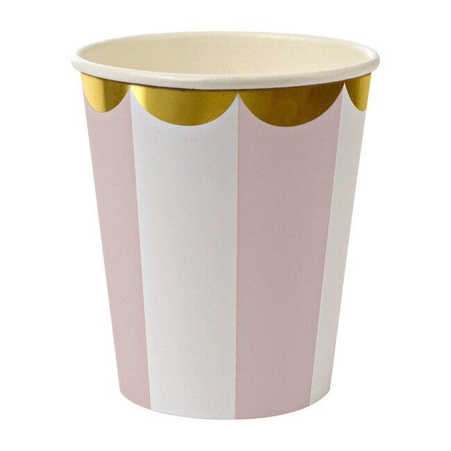 Dusty Pink Fan Stripe Cups - Drinkware - 1