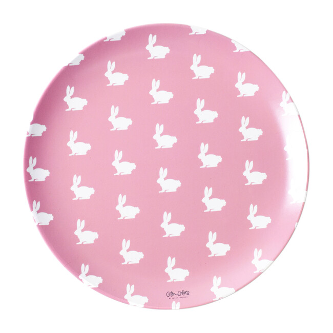 Set of 4 Bunny Melamine Plates, Blush