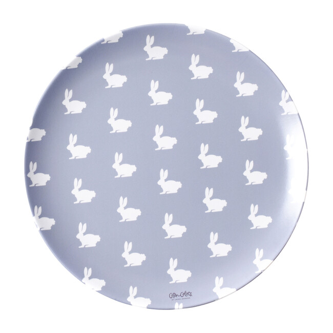 Set of 4 Bunny Melamine Plates, Grey/Blue