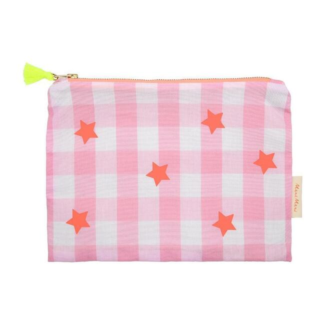 Pink + Neon Gingham Pouch