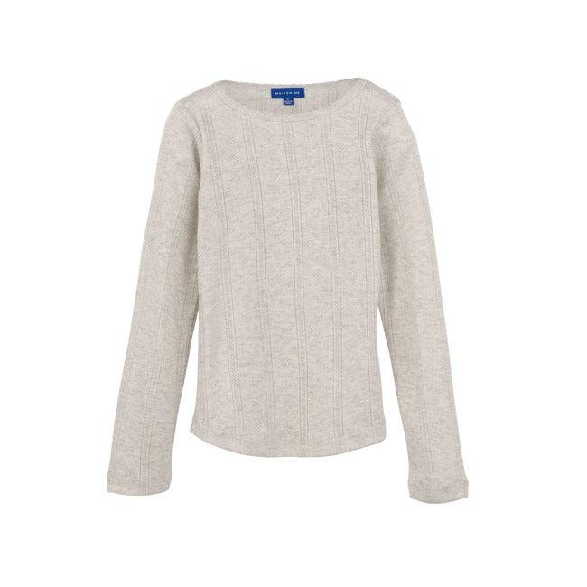 Miriam Pointelle Long Sleeve Shirt, Light Heather Grey