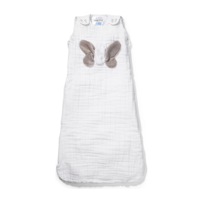 Non Weighted Tummy Sleeper Wearable Lovey Blanket, White and Gray