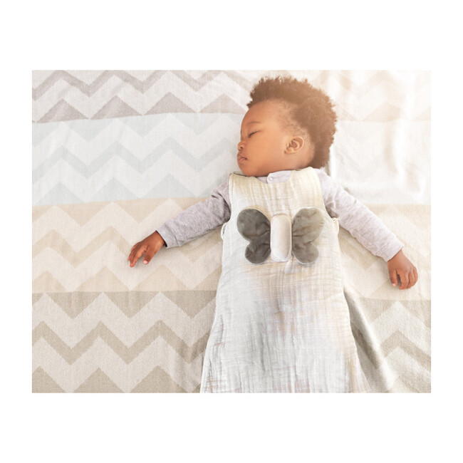 Wearable Lovey Blanket, White and Gray