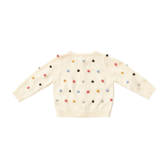 Baby Maude Sweater, Cream & Multi Poms