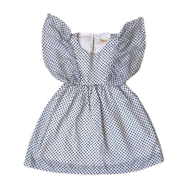 Renee Dress, White Blue Flower Prints - Dresses - 1