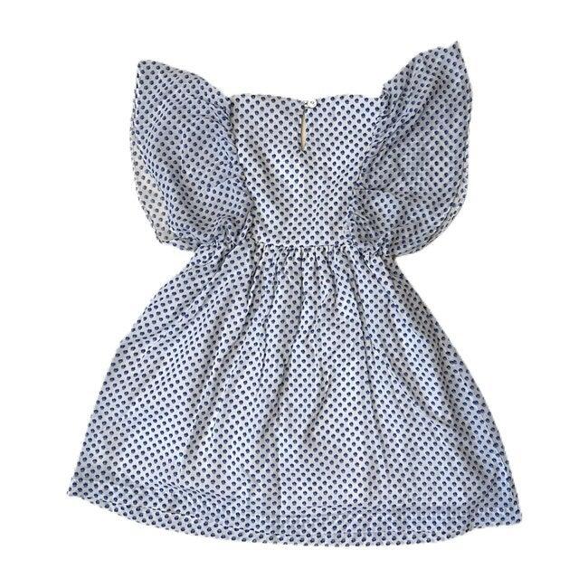 Renee Dress, White Blue Flower Prints
