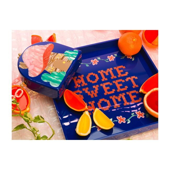 Home Sweet Home Square Tray, Blue/Red