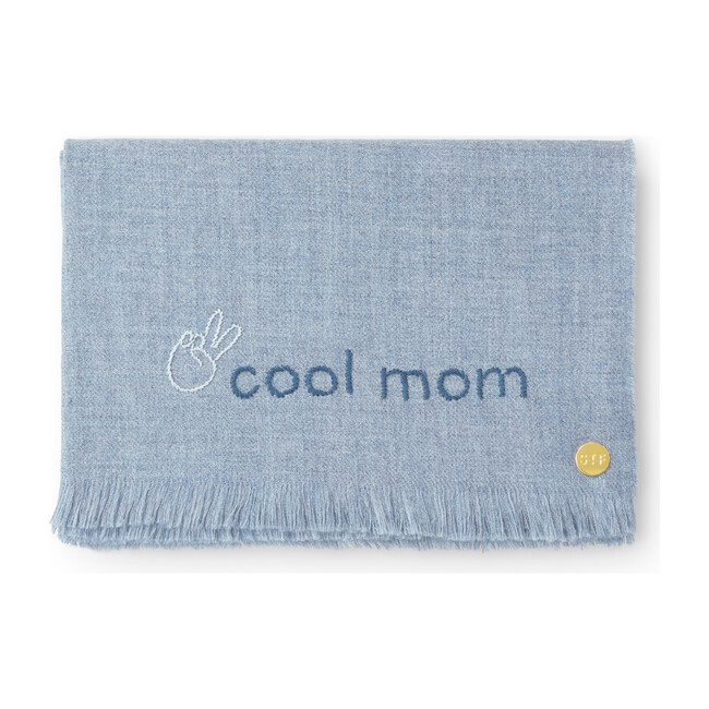 Cool Mom Embroidered Alpaca Throw Blanket, Blue - Throws - 1