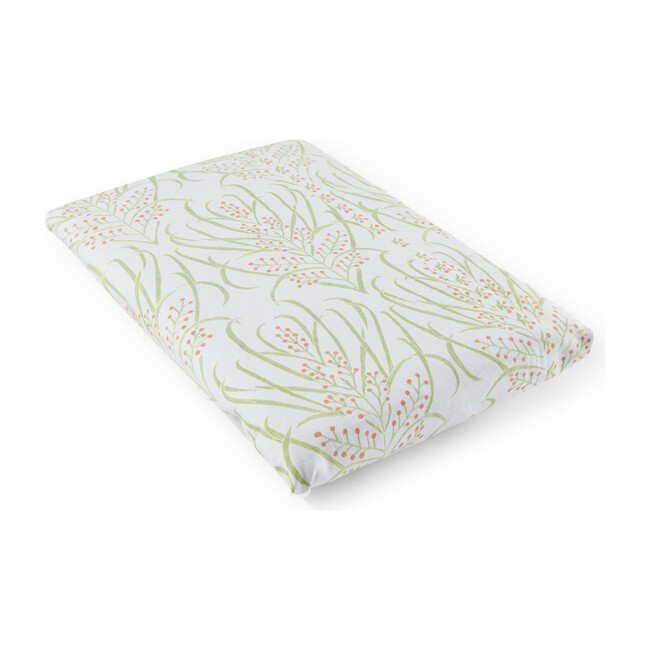 Vines Suzani Cotton Percale Crib Sheet, Light Teal