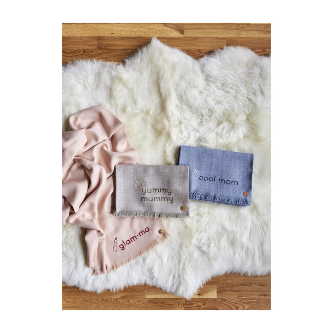Glam-ma Embroidered Alpaca Throw Blanket, Blush