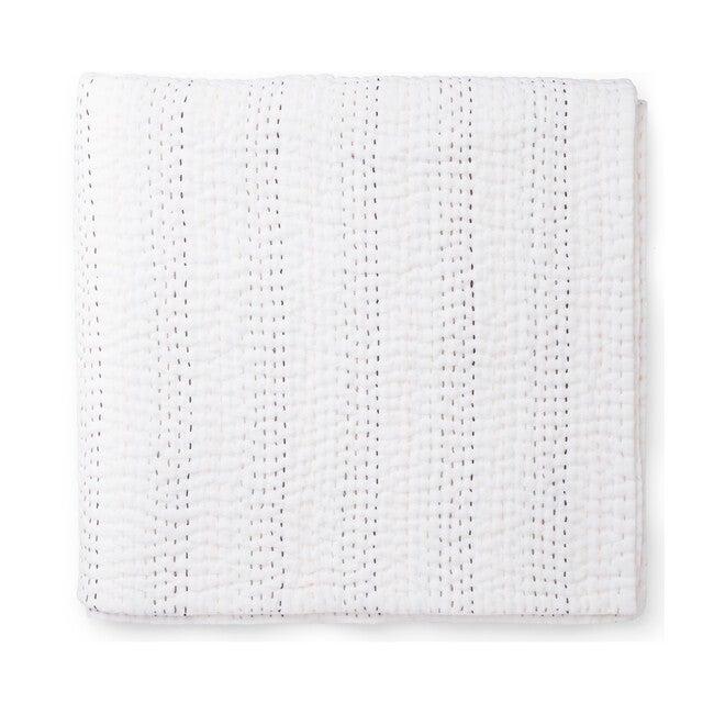 Linen Kantha Quilt Blanket, Rainbow Stitch