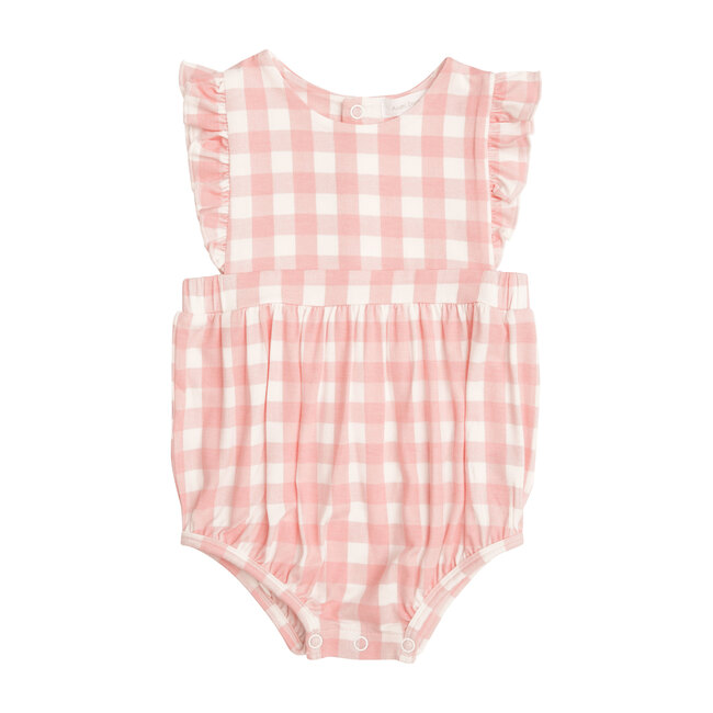 Pink Gingham Sunsuit, Pink/Ivory