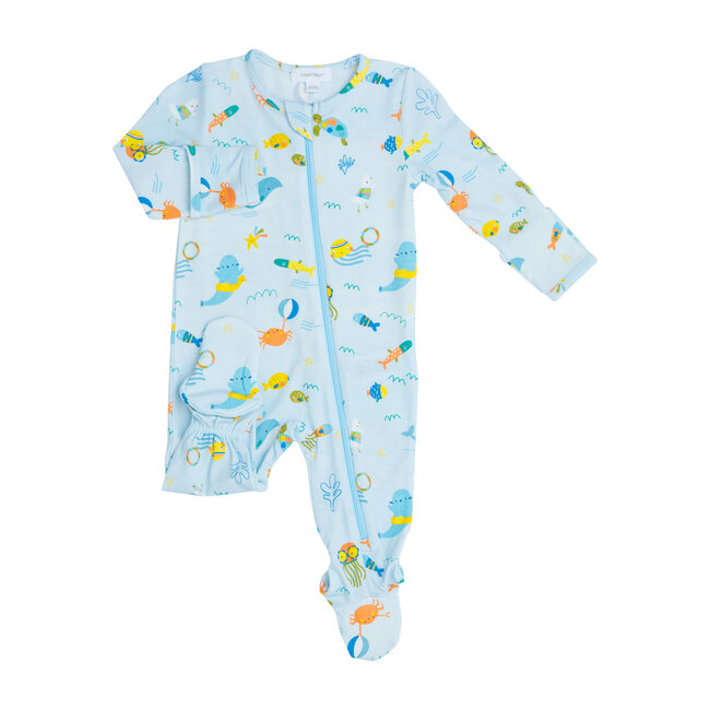 Sea Creatures Zipper Footie, Blue