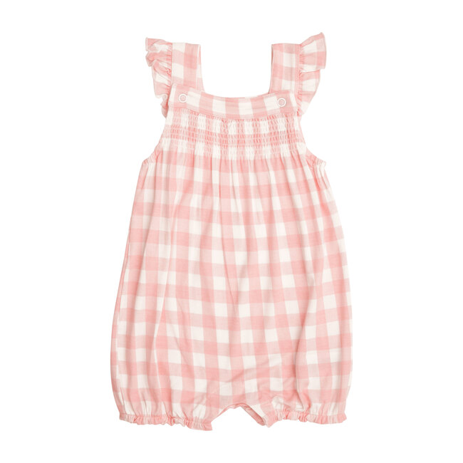 Gingham Smocked Front Overall Shortie, Pink